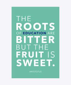 The roots of education are bitter but the fruit is sweet - Aristotle. Dimension: 30x20cm. Material: 100% Forex.