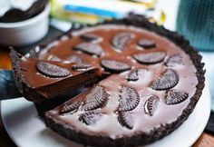 Chocolate Pie Recipes, Chocolate Pies, Pie Cake, No Bake Cake, Healthy Cake, No Bake Desserts, Cookie Recipes, Sweet Treats, Food And Drink