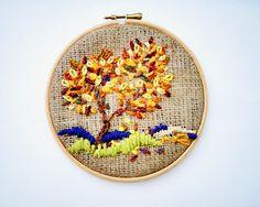 Art Textiles / Hoop Art / Embroidered / home decor / Landscape / Miniature / Handmade Fiber art / Tapestry / Modern art / Tree autumn