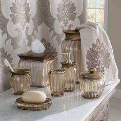 The Croscill Antique Ribbed bathroom collection is sure to add a touch of sophistication to your bathroom. Navy Bathroom, Rental Bathroom, Bathroom Sets, Bathroom Collections, Home Gadgets, Bathroom Accessories Sets, Amazing Bathrooms, Luxurious Bathrooms, Sauna