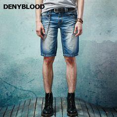 Denyblood Jeans 2017 Summer Mens Short Denim Jeans Slim Straight Darked Wash Shorts Capris Male High Quality Bermuda 16637S
