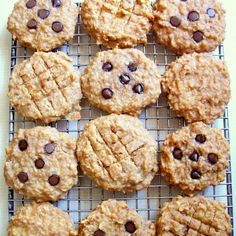 Peanut Butter Banana Oat Breakfast Cookies with Carob/Chocolate Chips Recipe Desserts, Breakfast and Brunch with bananas, creamy peanut butter, unsweetened applesauce, vanilla whey protein powder, vanilla extract, butter extract, quick oatmeal, peanuts, carob chips