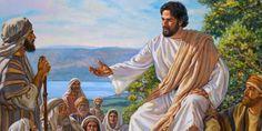 Los discípulos de Jesús escuchan sus palabras de sabiduría durante el Sermón del Monte