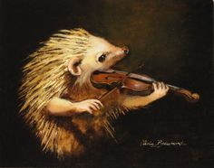 "Hedgehog Art - Serenade- 11x14"" - Giclee Cavas Print. $70.00, via Etsy."