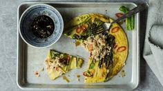 Chili- og vårløkspannekaker med krabbe