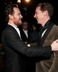 Inside the InStyle Party for '12 Years a Slave' - Michael Fassbender and Benedict Cumberbatch from #InStyle. I'd like to be between this english muffin.