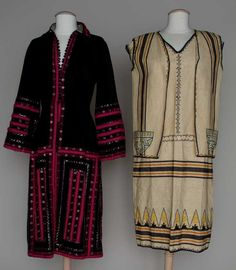 "TWO DAY DRESSES, 1920s  1 black wool gab w/ pink trim & silver metal trim, B 34"", W 26"", L 43.5""; 1 cotton dress & vest, printed stripes & embroidered"