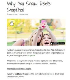 Adam Mclane recently posted about why Snapchat is not as harmless as you think. Check it out on Simply Insider