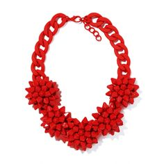 Red Verbena Stone Flower HandPainted Necklace