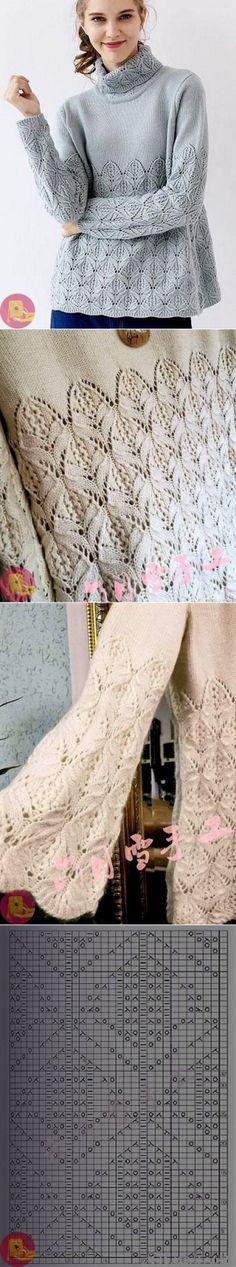Inspired by Bright Sweater by Junko Okamoto Knitting Stitches, Free Knitting, Wool Shop, Mittens Pattern, Knitted Poncho, Pulls, Knit Crochet, Crochet Mittens, Knitwear