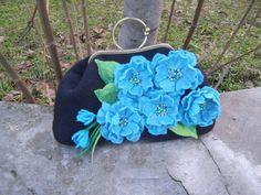 Felted handbag Turquoise  Black on Metal Frame by YuliasFeltworld