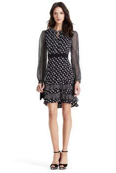 DVF Fionna Tiered Ruffle Silk Dress in Daisy Buds Tiny/ Dots Black