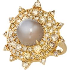 Nam Cho Gold Grey Moonstone Diamond Bullseye Ring ($9,870) ❤ liked on Polyvore featuring jewelry, rings, gray diamond ring, gold jewellery, yellow gold rings, gold jewelry and diamond jewellery
