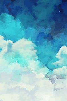 Blue and white watercolor clouds by khaus. Available in fabric, wallpaper, or gift wrap and white watercolor clouds by khaus. Available in fabric, wallpaper, or gift wrap. Watercolor Clouds, Watercolor Wallpaper, Landscape Wallpaper, Watercolor Texture, Watercolor Design, Watercolor Pattern, Watercolor Background, Watercolor Drawing, Blue Wallpaper Iphone