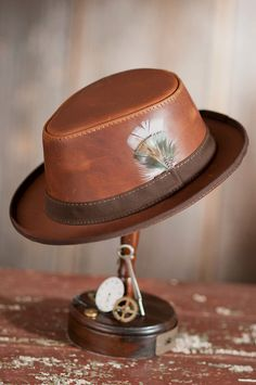 5c54fb43b1a Steampunk Dealer Leather Hat by Overland Sheepskin Co. (style 70619)  Leather Hats