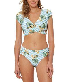62bc8e454d Green Palm Chevron Cap-Sleeve Bikini Top & Bottoms - Women #zulily # zulilyfinds