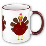 Add some flair to your table with this Thanksgiving Turkey Mug. Handle and lip of the mug are colored to match. 11 oz. or 15 oz. Available in 6 colors.