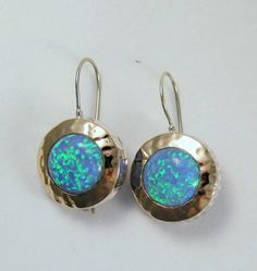 Opal earrings - Sterling silver and rose gold with blue opal stones - Blue fields forever.