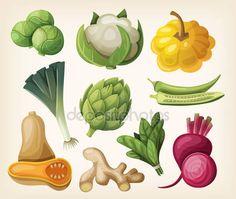 Descargar - Set of exotic vegetables — Ilustración de stock #43987365