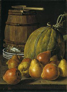 Luis Egidio Meléndez de Rivera Durazo y Santo Padre (1716-1780) — Still Life with Pears, Melon and  Barrel,  Plates,1764 : Museo Nacional del Prado, Madrid. Spain (751×1024)