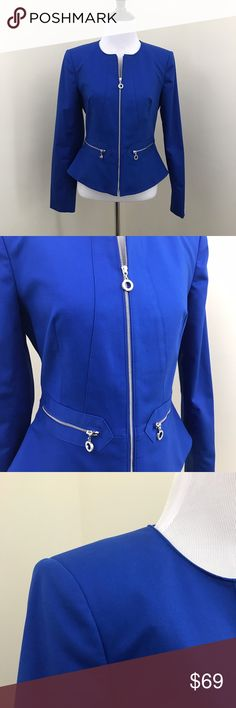 "Calvin Klein Back Peplum Zippered Blazer Absolutely gorgeous brand new Calvin Klein peplum back front zip blazer. It's in a royal blue with silver hardware. Shoulder pads and a fitted waist give it a chic look.  Size 2 63% cotton 34% polyester 3% spandex with a 100% polyester lining Length Approx. 20.5"" Bust Laying Flat Approx. 13.5"" Sleeves Approx. 23.5""  Item Number: L1N25BB Calvin Klein Jackets & Coats Blazers"