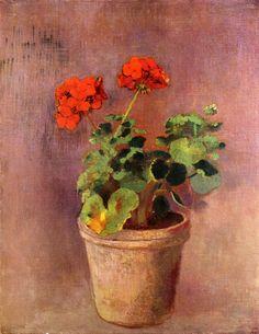 "artist-redon: ""The Pot of Geraniums by Odilon Redon Size: 63.5x48.9 cm Medium: oil on canvas"""