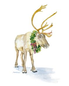 Christmas Reindeer watercolor giclée reproduction.Portrait/vertical orientation. Printed on fine art paper using archival pigment inks. This quality printing al