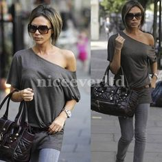 Women Loose Plain T-shirt Batwing Sleeve Casual Top Blouse E111 #niceforever #Blouse #Casual