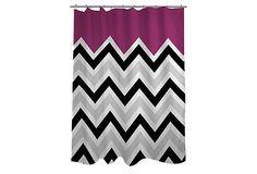 Chevron Solid Shower Curtain, Fuchsia on OneKingsLane.com