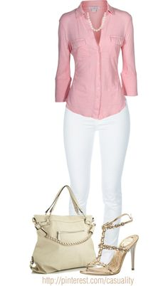 """Pink Button Down & White Denim"" by casuality on Polyvore"