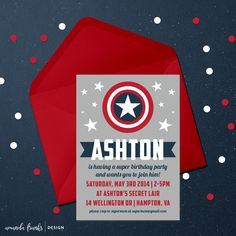 Digital 5x7 Invitation - Customizable - Captain America