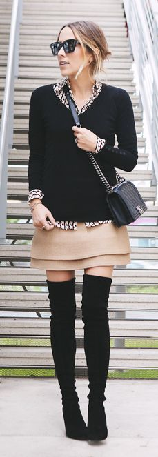 Every part of this look works-double layer skirt-chanel boy bag-suede over knee boots- shirt sweater styling.love with a longer skirt and shorter boots. Style Work, Mode Style, Style Me, Casual Styles, Fall Styles, Looks Street Style, Looks Style, Look Fashion, Womens Fashion