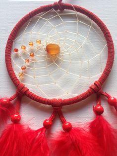 Traumfänger & Mobiles - Carneol im roten Traumfänger- Stier -rote Federn - ein Designerstück von Traumnetz-com bei DaWanda