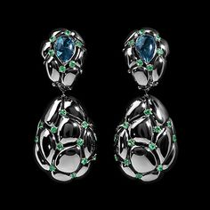 Mousson Atelier, collection Geometry, earrings, Black gold 750, London topaz 3,91 ct., Tsavorites