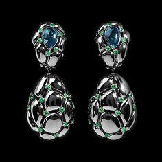 Mousson Atelier, collection Geometry, earrings, Black gold 750, London topaz 3,91 ct., Tsavorites