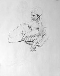 """2012103103 - BEANIE  Drawing, Charcoal on Paper, 24.0""""h x 18.0""""w"""