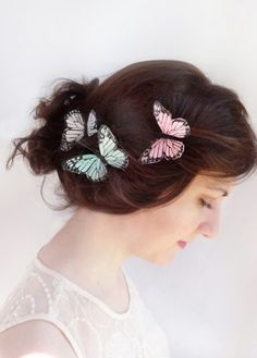 butterfly hair pins in pastel pink and mint