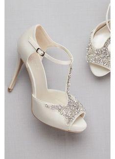 7571c4610e6 shoe addict anonymous · Crystal T-Strap Satin Peep Toe Platform Heels  PAISLEY Davids Bridal Dresses