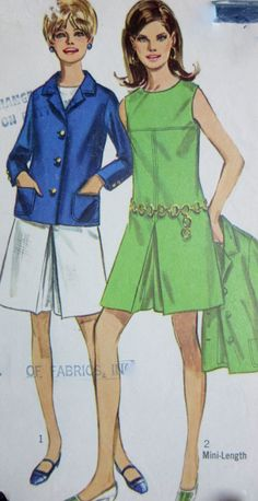 REDUCED***Vintage  1960s  Simplicity Jacket & Pantdress  Pattern 7528  size 14 Bust 36 **Epsteam