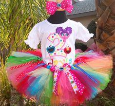 Abby-Elmo-Cookie Monster Rainbow Splash Birthday Tutu Outfit