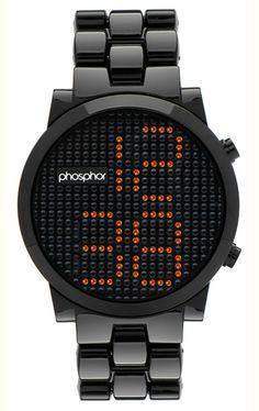 Phosphor Appear Amber Crystal Watch with Black Nylon Bracelet (MD012G)