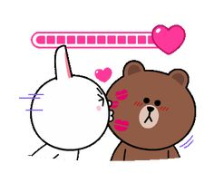 LINE Official Stickers - Brown & Cony Heart Melting Romance Example with GIF Animation Cute Cartoon Images, Cute Couple Cartoon, Cute Love Images, Cute Love Gif, Cute Love Cartoons, Cartoon Gifs, Calin Gif, Kiss Animated Gif, Gif Lindos