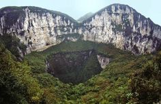 "10 Most Incredible Sinkholes:  Xiaozhai Tiankeng, also referred to as the ""Heavenly Pit,"" is a double-nested sinkhole in the Chinese district of Chongqing.  This is the largest sinkhole in the world.  The hole is a whopping 2,172 feet deep and 1,762 feet wide."