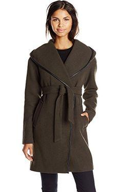 Calvin Klein Women's Doubleface Wool Wrap Coat, Loden, 10 ❤ Calvin Klein Women's Outerwear