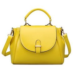Fashion Road Womens Modern Retro Top Handle Bag Pu Leather Satchel... ($25) ❤ liked on Polyvore featuring bags, handbags, handle bag, yellow satchel, satchel purses, yellow handbags and satchel hand bags