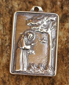 Saint Francis of Assisi Pendant or Big Charm in Sterling Silver (With Saint Clare on the back.)