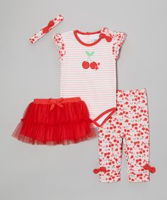 Red & White Cherry Bodysuit Set - Infant | Daily deals for moms, babies and kids