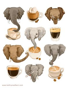 A super fun illustration of elephants and espresso. , check out this etsy shop she has tons of cute prints :) Image Elephant, Elephant Love, Elephant Art, Elephant Stuff, Illustrator, Fun Illustration, Elephant Illustration, Fine Art Prints, Character Design