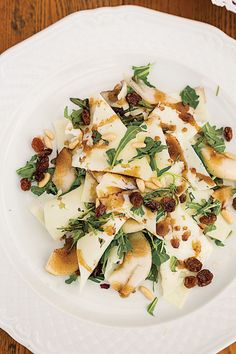 Rucola con Pecorino, Pignoli e Pere (Arugula, Pecorino, Pine Nut, and Pear Salad)   SAVEUR - can sub walnuts for pine nuts, raisins optional especially if pears are sweet enough
