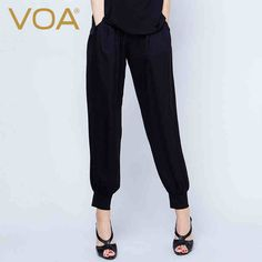 Find More Pants & Capris Information about VOA 2016 autumn black silk jacquard harem pants casual loose all match sashes female ninth length pants K5191,High Quality black silk nightdress,China black silk background Suppliers, Cheap silk from VOA Flagship Shop on Aliexpress.com